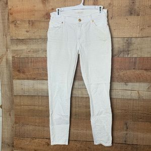 7 For All Mankind White Lace Embellished Jeans
